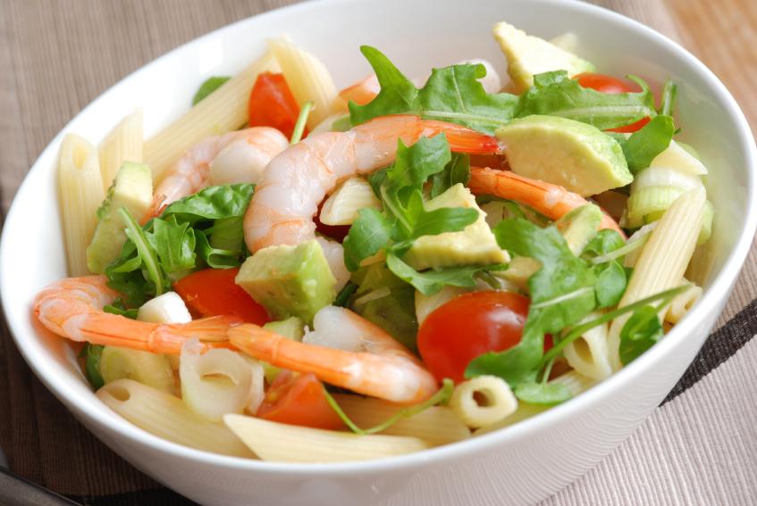 Салат из креветки авокадо