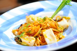 plate of pasta and seafood